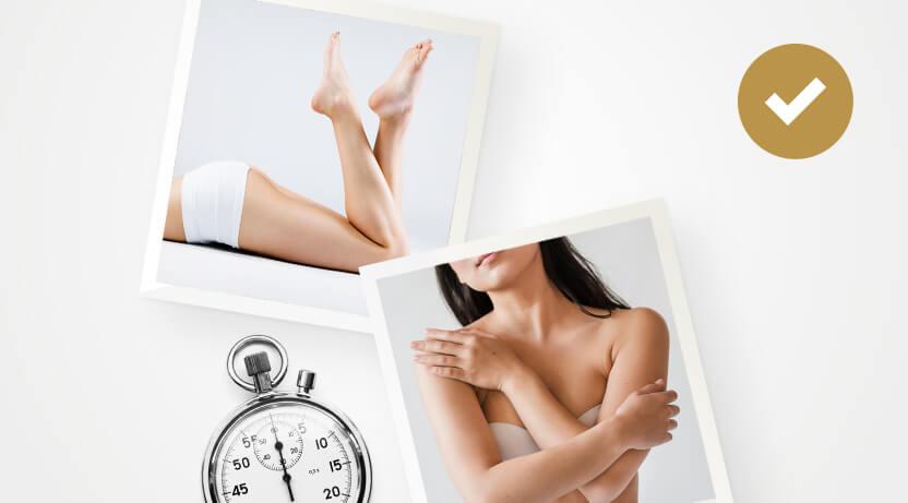 Dwa zdjęcia zdrowej skóry nóg iramiona oraz stoper oznaczający odpoczynek dla skóry.