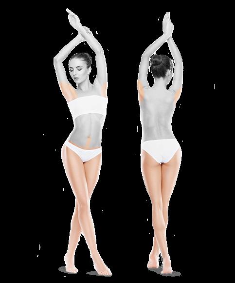 zdjęcie kobiety z przodu i z tyłu pachy bikini nogi do skutku