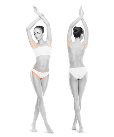 zdjęcie kobiety z przodu i z tyłu bikini pachy jeden zabieg