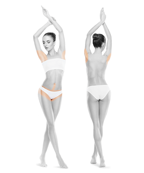 zdjęcie kobiety z przodu i z tyłu bikini pachy do skutku