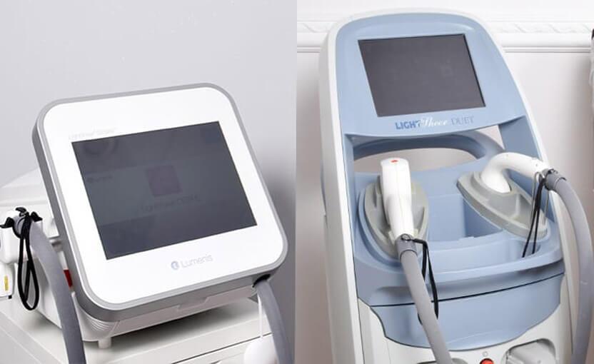 dwa urządzenia do depilacji laserowej