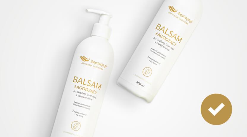 Dwie butelki balsamów depilacja.pl do nawilżenia skóry po depilacji laserowej.