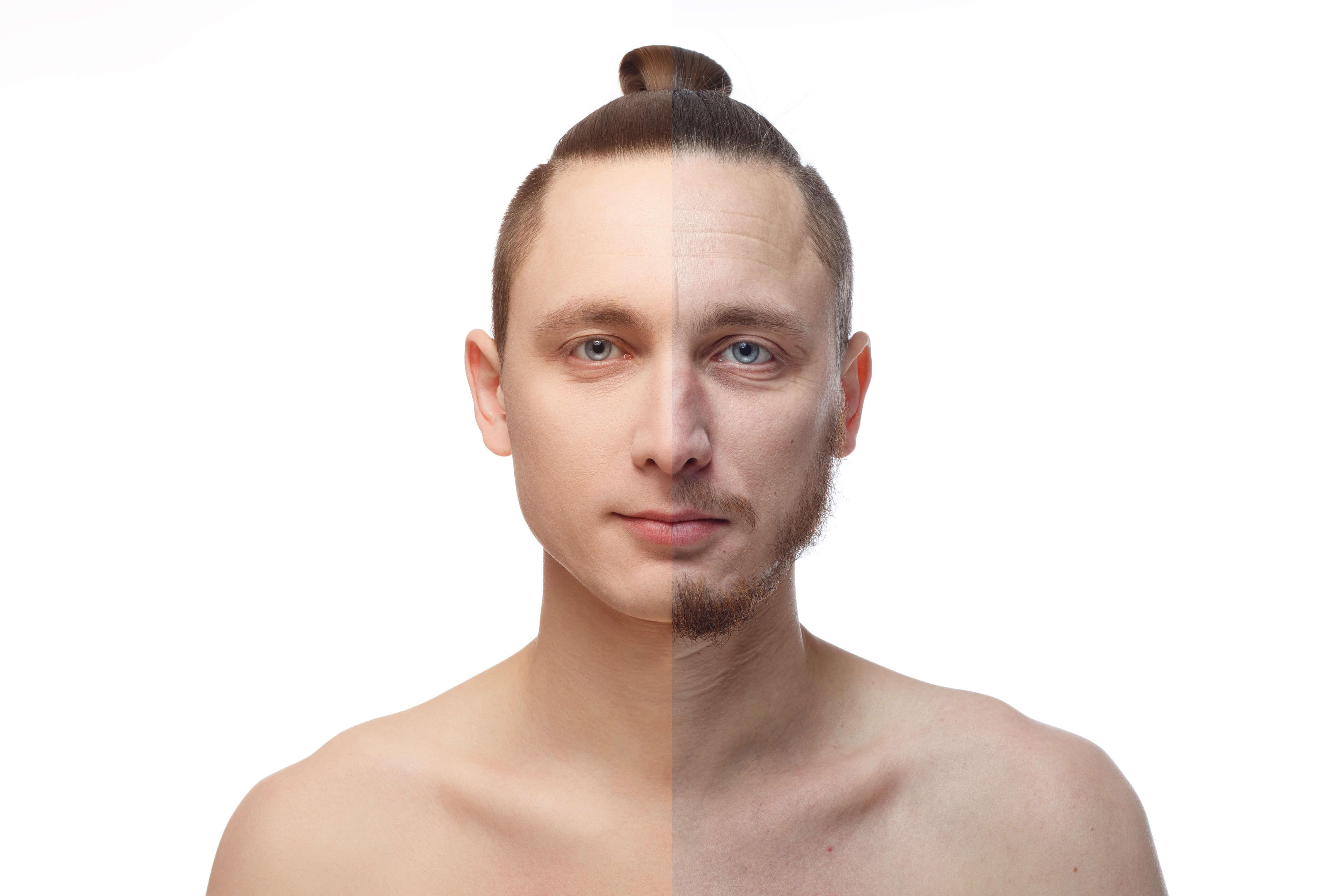 męska twarz pól na pół zarostu