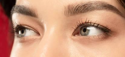Zbliżenie na szare oczy i wyregulowane brwi.